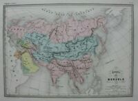 ASIA, MONGOL EMPIRE, original antique map, Malte-Brun, Huot, c.1882
