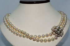 $ 8,990 7.47MM Natural Pearl & .37Ct Diamond Necklace Gorgeous Design 14K WG
