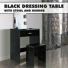 Black Dressing Table With Mirror & Stool Jewellery Cabinet Makeup Storage Desk