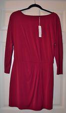 NWT TRINA TURK MERLOT RED SCOOP NECK DRESS SIZE 2 SIDE GATHER LONG SLEEVE