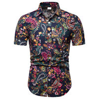 Summer Men Floral Short Sleeve T-shirt Blouse Hawaiian Shirts Holiday Beach Tops