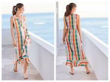 NEXT Multi Stripe Checked Sleeveless Summer Wrap Dress size 14 Frill Maxi Midi