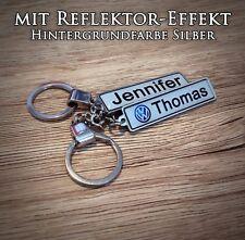 Reflektor Effekt zweiseitiger Schlüsselanhänger mit Wunschtext, Geschenkidee,KFZ