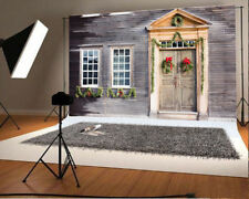 7x5ft Vinyl Photo Christmas Wooden House  Backdrops Photography Background