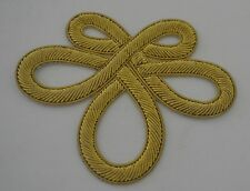 Reduced! 2 STRIKING VINTAGE GOLD METALLIC APPLIQUE BRAIDED KNOT TRIMS  NIP RR969
