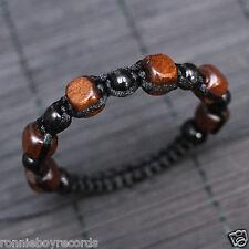 Brown Red Cube Black Wooden Beads Adjustable Shamballa Boho Bracelet Men Women