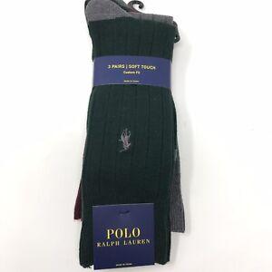 Polo Ralph Lauren Pony Green, Red, Gray Dress Socks Men's 3 Pack