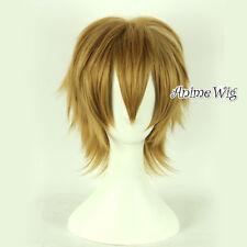 30CM Short Layered Light Brown Men Basic Anime Hair Party Cosplay Wig+Wig Cap