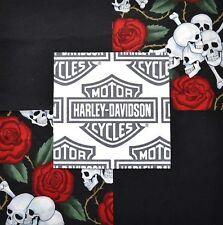 "30 6"" HARLEY DAVIDSON Shield Logo Skulls Red Roses Quilt Fabric Squares"