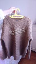 Lady Girl Women Brown Knit Knitting Korea Fashion Tops Cardigan Jumper Sweater