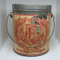 Vintage Home Comfort Tobacco tin pail with handle
