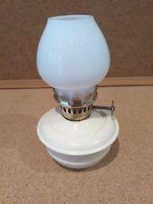 Vintage Miniature Oil Lamp with Single Burner & milk colour Glass Chimney