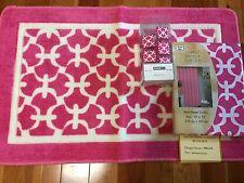 Girls Bright White and Pink Trellis Fabric Shower Curtain Rug Hooks 14pc Set NEW