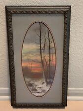 Original Signed Pastel on Paper Sunset Scene Vintage 1900's