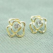 14k Gold Plated Swarovski Crystals Flower Stud Classy Earrings