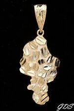 Real Genuine 10K Yellow Gold Diamond Cut D/C NUGGET Design Pendant Charm Piece