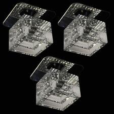 Edle Würfeleinbauleuchten 3er Set Einbaustrahler Kristall Glas Klar Deckenspot