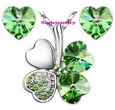 White Gold Plated Green Four Leaf Clover Set Made With Swarovski Crystal N55XE26