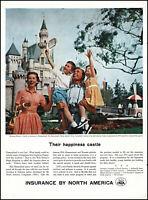 1957 Disneyland Sleeping Beauty Castle INA insurance vintage photo print ad L19