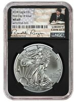 2018 1oz Silver Eagle NGC MS69 First Day Issue - Black Core -  Liberty Coin Act