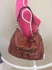 Via Spiga Brown Leather Hobo Bag Large Shoulder Bag Gold Hardware Excellent