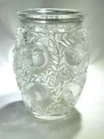 ELEGANT LALIQUE FRENCH FROSTED HEAVY CRYSTAL BIRD VASE BAGATELLE  SIGNED