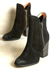 NEW NIB $178 ANTHROPOLOGIE SEYCHELLES BLACK SUEDE DOUBLE ZIPPER ANKLE BOOTS 6 36