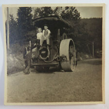 Original Photograph, Boy, Girl & Man On / Next To A Road Roller, 1910's - 1920's