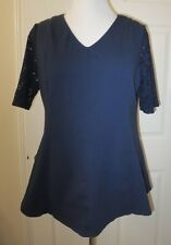 Womens Denim & Co  Stretch Lace Elbow Sleeve Top - Navy- M