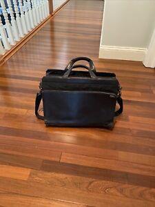Tumi Laptop Briefcase File Organizer Black Expandable Leather Bag Attache 2964D