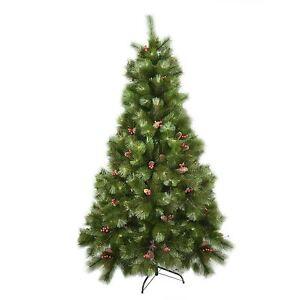 6ft Pre Decorated Artificial Christmas Tree Cone Pine Berries Xmas Decor 180cm