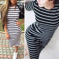 Fashion Women Casual Slim Striped Pullover Short Sleeve Tunic Shift Dress CXF
