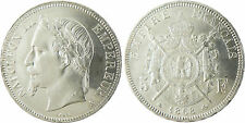 NAPOLEONE III 5 FRANCHI ARGENTO TESTA LAUREATA 1868 A PARIS , SUPERBO