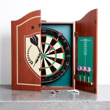 Pub Style Dartboard in Wooden Cabinet With Score Board and Game Darts Fancy