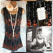 Gino Cerruti flapper sequin 20s gatsby net lace black red dress nwt 8 10