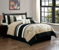 7 Piece Oversized Luxury Embroidery Microfiber Comforter Set Black Tan,Cal King