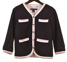 Marc Jacobs Black Cotton Jewel Button Front Pink Tipped Fleece Lined Cardigan M