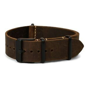 Oiled Leather One-Piece Watch Band - Dark Brown PVD - 18mm, 20mm, 22mm or 24mm