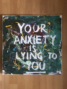 Jean Michael Basquait Style Acrylic Painting On Canvas Banksy Style Anxiety
