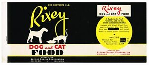 VINTAGE CAN LABEL RARE DOG CAT FOOD 1940S RIXEY SILHOUETTE CHICAGO ILLINOIS
