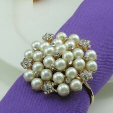 10 Pcs Pearl Crystal Napkin Rings Wedding Parties Table Napkin Buckle Decoration