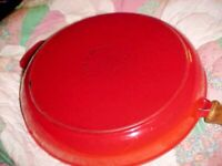 MADE IN FRANCE 20538 Cast Iron Enameled Skillet Fry Pan RED/ORANGE LARGE 12""