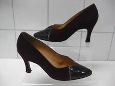 Ladies purple suede leather BALLY COURT SHOES size UK 4 moc croc faux snakeskin