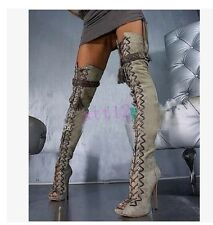Sexy Womens High Heel Over Knee Boot Lace Up Gladiator Open Toe Stiletto Sandal
