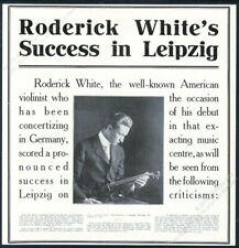 1914 Roderick White photo violin recital tour reviews vintage trade print ad
