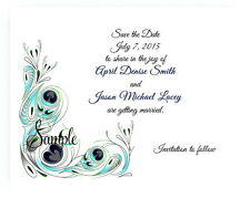 100 Personalized Custom Teal Peacock Bridal Wedding Save The Date Cards