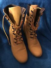 """Us Polo Assn Brown Ladies Mid Calf Lace Up Boots Size 8.5 With 3"""" Heel"""