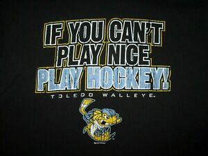 TOLEDO WALLEYE t SHIRT If You Can't PLAY Nice PLAY HOCKEY Kids Boys YOUTH SMALL