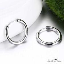 4 Orecchini Basi Rotondi Tondi Occhiello Cerchio color Argento 75mm Donna