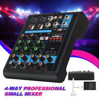 4 Channel USB bluetooth Live Studio Audio Mixer Mixing Console 48V Phantom Power
